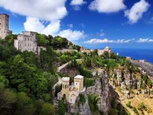 Beautiful panoramic view from Erice mountain